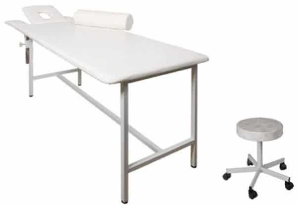 Кушетка массажная с регулируемым подголовником в комплекте со стулом КМ-Диакомс | Мебель медицинская | Кушетки и банкетки медицинские | Кушетки массажные | Стационарные кушетки