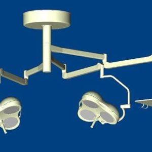Mach M3 + Mach M3 + инструментальный столик Комбинированный потолочный бестеневой операционный светильник с треем | Светильники медицинские | Комбинированные операционные светильники